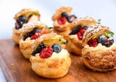 Choux Pastries with Vanilla Diplomat Creme - Desserts Menu